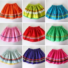 TUTORIAL: ¡Fiesta Skirts! ----I'm down with this skirt idea--would really help use up those spools of bias tape I have from the 90s!