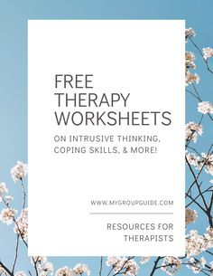 Free Therapy Worksheets: on intrusive thinking, coping skills, & more! For free therapy resources, visit Counseling Worksheets, Therapy Worksheets, Counseling Activities, Art Therapy Activities, Group Activities, Social Work Worksheets, Mental Health Activities, Mental Health Counseling, Mental Health