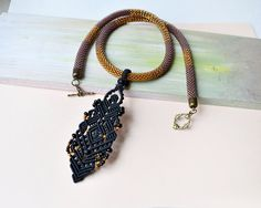 Bead crochet necklace rope with a micro macrame por MartaJewelry