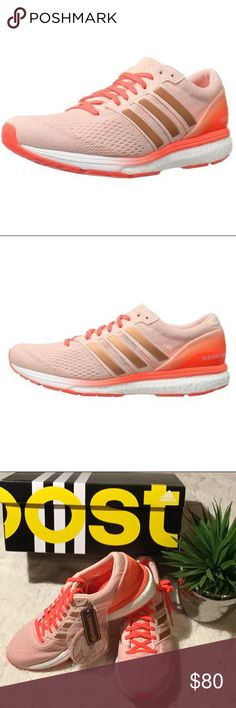 🆕NIB Adidas Pink Adizero Boston 6 Sneakers, 9 New in box. Never worn. Size 9. Vapor pink. Womens lightweight running shoes. Continental rubber outsole for extraordinary grip in wet and dry conditions. Extra shoestrings included. Adidas Shoes Athletic Shoes