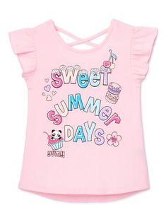 Little Girl Fashion Clothes, Cute Girl Outfits, Kids Outfits Girls, Cute Outfits For Kids, Kids Girls Tops, Shirts For Girls, Kids Shirts, Walmart Kids, Shirt Print Design