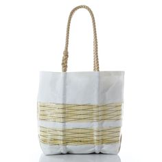 Medium Blonde Kevlar Stripe Tote handcrafted from recycled sails.