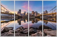 Steel on the Rocks MetalPrint Quadtych - 4 Piece Print - Pittsburgh North Shore Sunrise Photo Photograph
