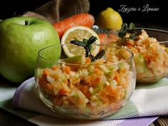 mela verde e carota in coppa