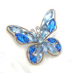 Rhinestone Butterfly Brooch Vintage 196070s by AtticDustAntiques, $22.00