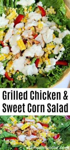 Grilled Chicken and Sweet Corn Salad with Help from Little Foodie - Mom Foodie Salad Recipes Low Carb, Corn Salad Recipes, Corn Salads, Salad Dressing Recipes, Healthy Recipes, Keto Recipes, Healthy Meals, Dinner Recipes, Sweet Corn Salad Recipe