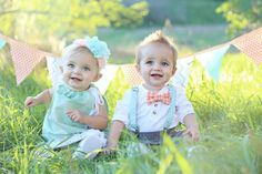 I love my beautiful babies!!! Sugar and spice twin birthday party, boy girl, photo 1 year, mint and peach