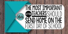 Teachers, You Must Send This Letter Home to Parents on the First Day of School!