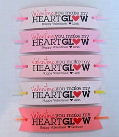 Glow stick Valentine's With Free Printable