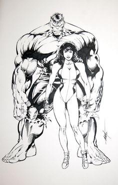 Hulk & She-Hulk - MC Wyman Comic Art