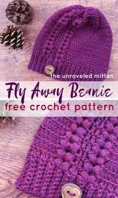 Fly Away Beanie Free Crochet Pattern - Wiezu Crochet Adult Hat, Crochet Beanie Pattern, Knit Crochet, Crochet Patterns, Crochet Baby, Crochet Winter, Crochet Scarves, Crochet Headbands, Crochet Clothes