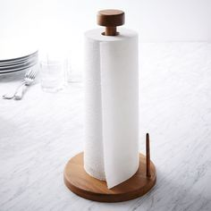 Acacia Wood Paper Towel Holder by West Elm Kitchen Utensil Holder, Kitchen Utensils, Kitchen Gadgets, Modern Dinnerware, Paper Towel Holder, Towel Holders, Raw Wood, Food Storage Containers, Acacia Wood