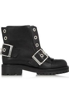 Alexander McQueen Buckled leather biker boots | NET-A-PORTER