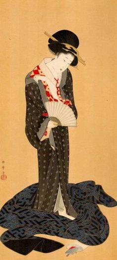 KITAGAWA Utamaro (1753~1806), Japan http://artemisdreaming.tumblr.com/post/3866998281/beauty-dressing-in-summer-kitagawa-utamaro