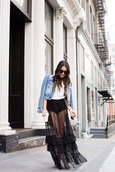 Inside Out :: High-waisted comfort & Sheer tulle skirt Outfit Day :: Denim Jacket   Hanes V-Neck T-Shirt   Sheer Tulle Skirt   Hanes Cool Comfort Brief Published: May 24, 2017