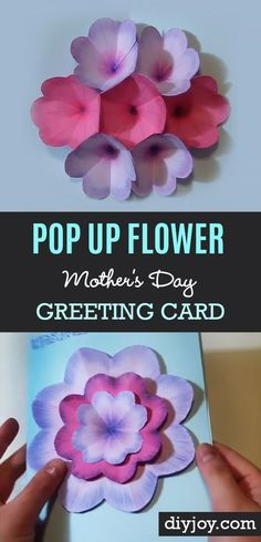 Creative DIY Mothers Day Gifts Ideas - Pop Up Flower Mother's Day Greeting Card  - Thoughtful Homemade Gifts for Mom. Handmade Ideas from Daughter, Son, Kids, Teens or Baby - Unique, Easy, Cheap Do It Yourself Crafts To Make for Mothers Day, complete with tutorials and instructions http://diyjoy.com/diy-mothers-day-gift-ideas