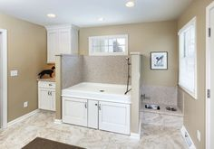 Chic doggie steps in Laundry Room Transitional with Outdoor Dog Washing Station next to Dog Wash Area alongside Dog Shower and Dog Wash Station Dog Bathing Station, Dog Wash, Animal Room, Dog Shower, Shower Pan, Dog Rooms, Room Additions, Dog Houses, Mudroom