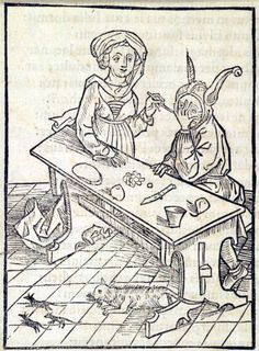 """""""Of adultery"""". This woodcut is attributed to the artist the Haintz-Nar-Meister. It is an illustration from the book Stultifera navis (Ship of Fools) by Sebastian Brant, published by Johann Bergmann in Basel in 1498."""