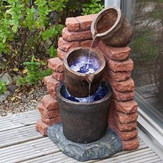 Solar Cascading Plant Pots Water Feature with LED Lights