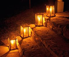 Outdoor lighting.  I could even put the big bulb Christmas lights in them, that'd probably look cool!