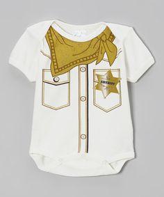 Look what I found on #zulily! White & Brown 'Sheriff' Bodysuit - Infant by Mon Cheri Baby #zulilyfinds
