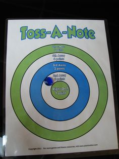 Toss-a-Note -- dart spin-off game for note-reading and interval identification -- put students on teams and use chalk to draw staff on driveway Music Theory Games, Music Games, Piano Lessons, Music Lessons, Music Flashcards, General Music Classroom, Piano Games, Music Activities, Learning Games