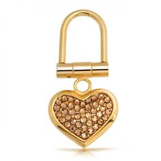 Bling Jewelry Gold-Plated Gold Austrian Crystal Heart Shape Keychain Keyring