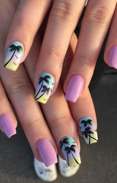 55 Beautiful Summer Coffin Nails Easy to Copy Elegant Nail Art, Trendy Nail Art, Cute Nail Art, Stylish Nails, Cute Nails, Best Acrylic Nails, Summer Acrylic Nails, Summer Nails, Minimalist Nails