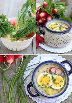 Wiosenna zupa z rzodkiewką i jajkiem, posypana świeżym szczypiorkiem i koperkiem.