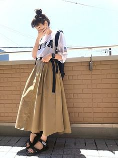 チノスカートでnoロールアッパー٩(˙³˙ ) オーバーサイズT×チノスカート チノのフレアスカート