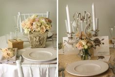 SHABBY CHIC FLOWER ARRANGEMENTS | pastel wedding table with a shabby chic style