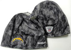 NFL Officially Licensed Reebok San Diego Chargers Grey Camoflauge Swarm-knit Beanie by Reebok. $19.99. Gray and White Camo. 100% Polyester. Fleece Lined for added warmth. Makes a great gift. Officially Licensed. Keep your head warm during the cold winter months while showing off your team spirit with this officially licensed winter knit head-wear. Makes a perfect gift item or self purchase. Officially licensed.. Save 33% Off!