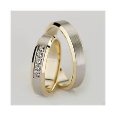 Comfortable and appealing to wear, these solid Two Tone yellow-white-yellow Gold Satin finish His and Her Matching Wedding rings are handcrafted so you will get truly unique wedding bands. Price is for both wedding rings.Her wedding band has 5 Roun His And Her Wedding Rings, Matching Wedding Rings, Celtic Wedding Rings, Custom Wedding Rings, Wedding Matches, Gold Wedding Rings, Bridal Rings, Diamond Wedding Bands, Diamond Rings