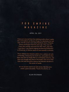Alan Rickman's farewell letter to Harry Potter.