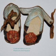 Antique French Leather Original Doll Shoes Size 11 for character doll