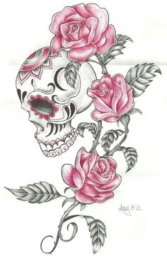 instead of pink roses, i'd make these sunflowers and the skull way more plain..