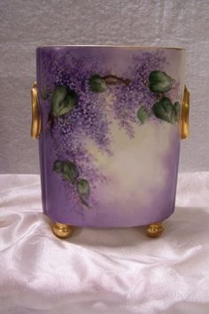 """Antique Limoges France Footed Cachepot adorned w/ """"Spring Violet & White Lilacs"""" hand painted One-of-a-Kind Art Ware piece created by the Late 19th Century Artist 'Buenger' (Cache Pot/ Vase/ Planter (Wisteria)"""