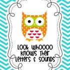 Freebie!!  Letters and sounds owl sign to add to a tree or other board to motivate and reward little learners.  #kindergarten #kindergartenkapers