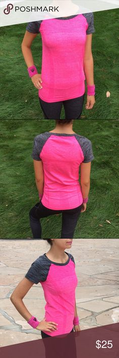 Active Short Sleeve Top New with tag boutique. Active Short Sleeve top. Perfect for any workout. Very comfortable. Bright pink and gray color. Match it with Mesh Yoga leggings available at my closet. From my boutique Tops Tees - Short Sleeve