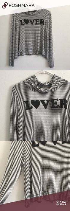 • Lover • Striped Mock Turtle Neck Crop Top • Super cute and soft material. Size M Wild Kiss Tops