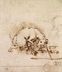 Leonardo da Vinci - A Unicorn Dipping its Horn into a Pool of Water, c.1481