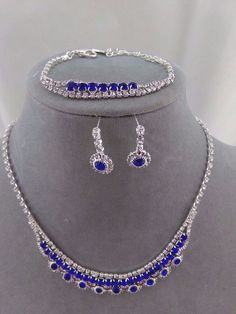 Blue Rhinestone Necklace Bracelet Earring Set Silver Fashion Jewelry NEW Dainty #ChristinaCollection