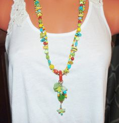 Two Strand Colorful Beaded Necklace Summer by FunNFunkyJewelry