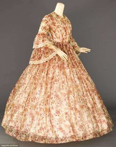 SILK PRINTED AFTERNOON DRESS, 1850s     1 piece, sheer tissue silk woven w/ white pin stripes, printed roses & brown foliage, double t...