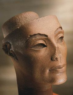 Queen Nefertiti Brown Quartzite Height 19.0 cm (7.5 in); width 14.5 cm (5.7 in); 18th Dynasty; reign of Akhenaten Memphis; Mit Rahina Palace of Merneptah JE 45547
