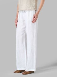 Linen Long Straight Pull-On Pants | Only you have to know it's a pull-on. Everyone else sees a tailored and luxurious crafted pants.