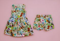 This floral print dress and shorts (paired with a crisp white blouse) would make for a cute flower girl duo.