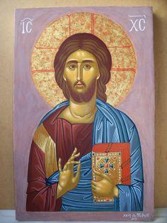 """Ιησούς Χριστός """"Παντοκράτωρ"""" - Αυγοτέμπερα σε ξύλο. Jesus Christ """"Pantokrator"""" - Egg tempera on wood."""