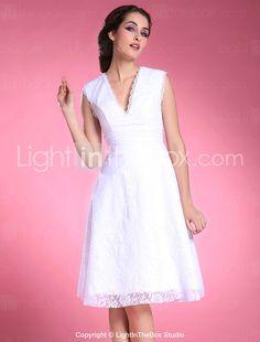 A-line V-neck Knee-length Lace Satin Mother of the Bride Dress - USD $ 129.99