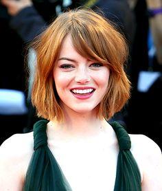 Emma Stone chin length bob haircut